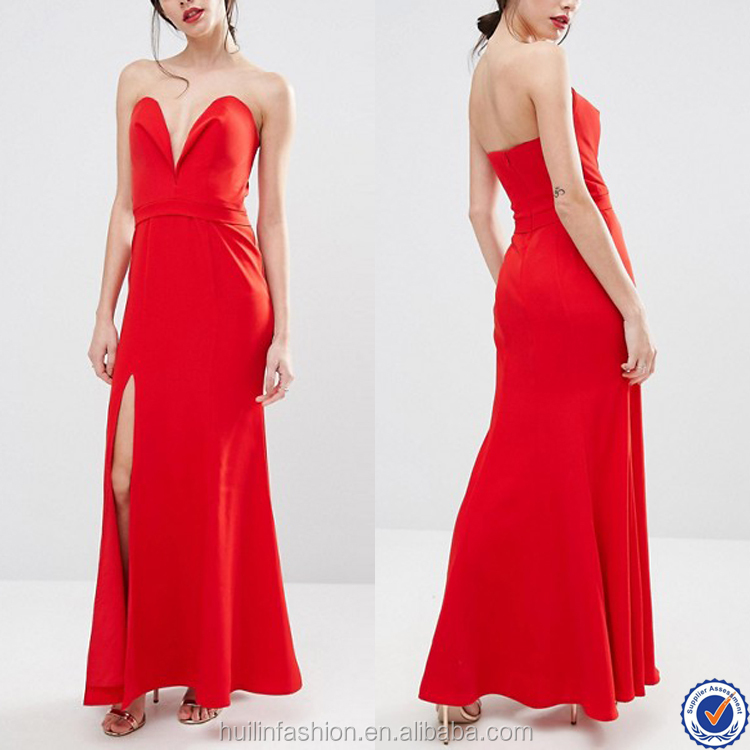 plain red pictures of latest gowns designs thigh high split sweetheart neckline plunge front maxi evening gown