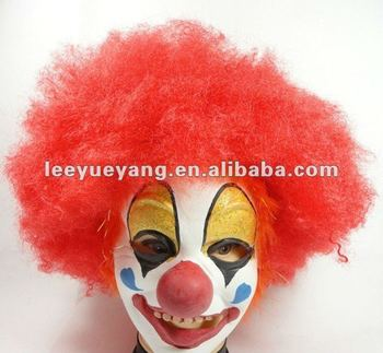 red thick curly hair for clown in halloween wigs