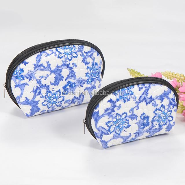 Noconi Wholesale Travelling Makeup Bag Blue and White Porcelain Pattern makeup kit pouch