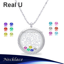 Floating Charm Living Memory Lockets Stainless Steel Necklace Stone Jewelry