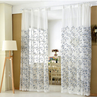 100%polyester embroideried leaves voile 8 grommets window curtains