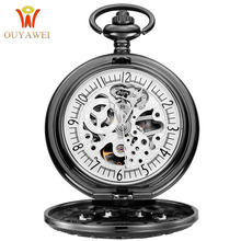 Top Brand Luxury OUYAWEI Stainless Steel Chain 30M Waterproof Skeleton Antique Mechanical Gear Engraved Pocket Watch
