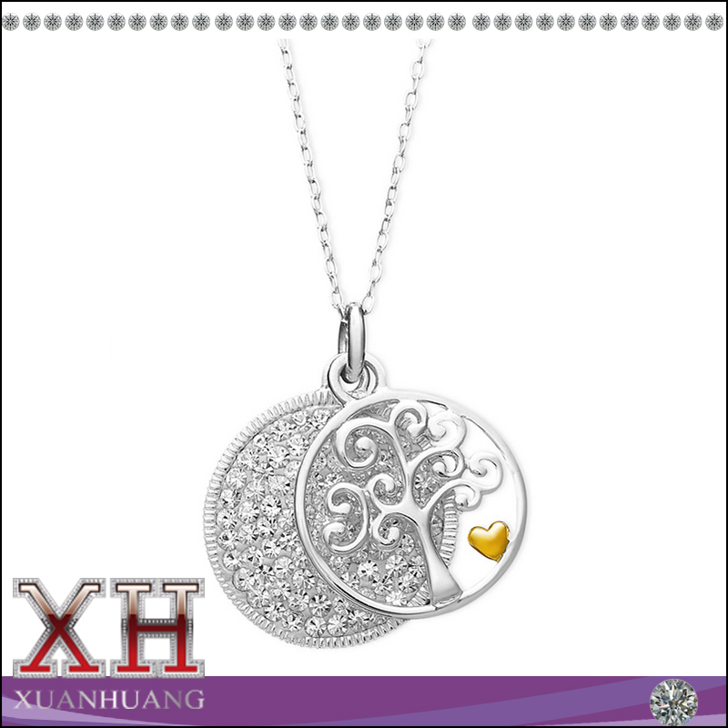 Cubic Zirconia fashion design 925 sterling silver family tree pendant necklace