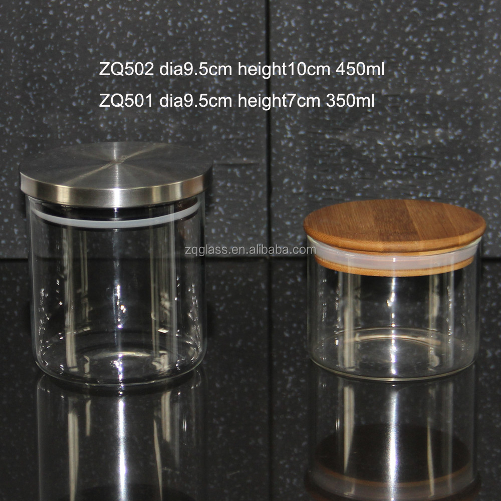 Cirular Round Heat Resist Borosilicate Glass Candle Jar with Airtight Lid