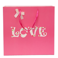 Custom new design hot sell Pink love paper gift bag for chocolate in valentine with bow tie decoration wholesale
