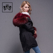 Fashionable Italian Design Jacket Winter Red Fur Collar Parka Women Real Fur Coat For Lady