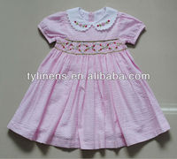Pink stripe seersucker smocked children clothing wholesale