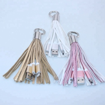Wholesale promotion product 2 in 1 usb cable charger tassel keychain