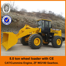 Cat licensed engine,CE,4WD,5ton,joystick control, big loader with diesel engine