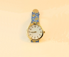 Vogue graceful shivering flower genuine leather watch for lady