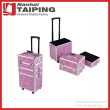 Aluminum 3-in-1 Pink Beauty Trolley Case Hairdressing Vanity Box Trolley Case