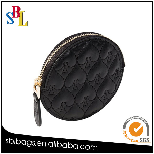 New Design Black Leather Mini Change Purses Round Coin Wallet Jewelries Holder