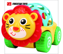 New Products Plastic Baby Rattle Ball Toys Lion Cartoon Car Toy