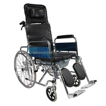 factory price GT02608GC high back reclining steel frame commode manual wheelchair with pull type excrement disc