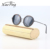 unique smart round metal wood sunglasses with custom logo printed lens