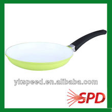 28cm Aluminum green with white Ceramic coated silicon handle Fry Pan