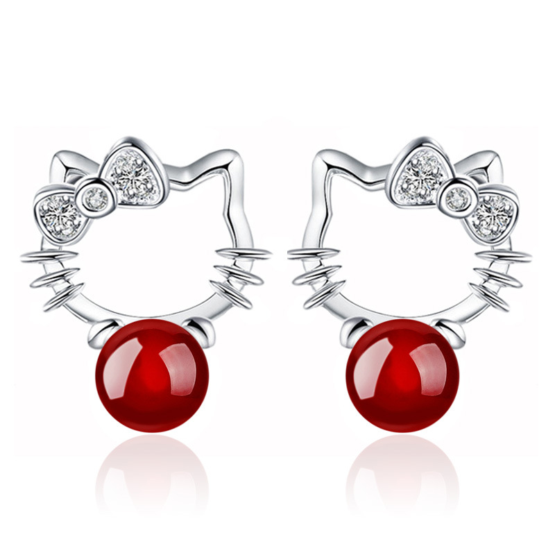 2017 New <strong>fashion</strong> red & black Agate hello kitty cute cat stud earring jewelry wholesale