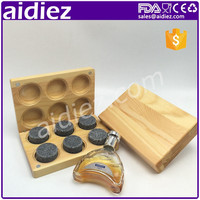 Set Of 6 Round Whiskey Stones Marble Cubes With Bamboo Gift Box