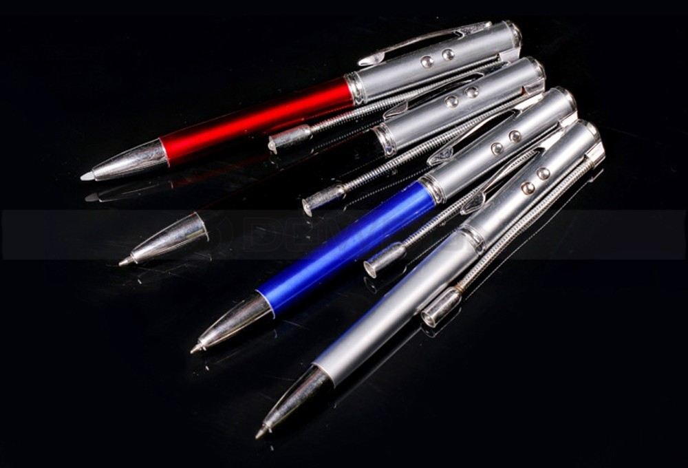 See and Write in the Dark 5-in-1 Lighted Ballpoint Pen with Counterfeit Bill Detector Blue Light, Red Laser Pointer