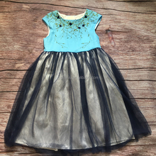 grils dresses cheap price good quality children embroidery top blue tulle soft clothes factory garments