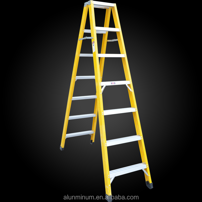 Made in china cheap insulated 4 steps adjustable fiberglass folding ladder