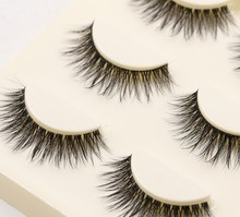 Custom packaging faux fiber false eyelashes silk 3D synthetic eyelashes