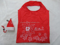 Light weight 190T polyester folding tote bag in Christmas hat shaped