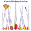 Wholesale 10pcs Colorful Wool Fiber Hair Rainbow Eyebrow Makeup Brush Set