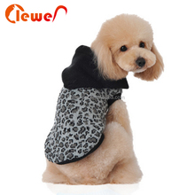 Popular leopard print knit sweater with hat for dogs