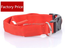 HOT selling multi color Pets Dog LED adjustable collar Light Blink Flash Night Safety Nylon Collar Waterproof Collar clip