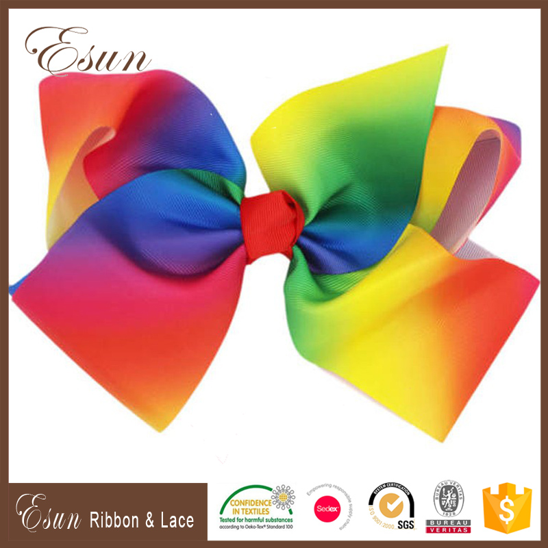 8 Inches Large Big Rainbow Hair Bows