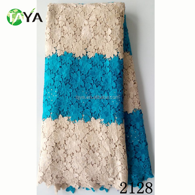wholesale 2128 tur blue mix cream guipure dress lace african cord lace