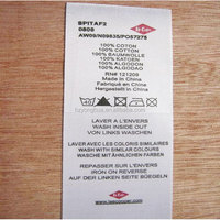 Printed garment wash care labels for t-shirts/swimwear