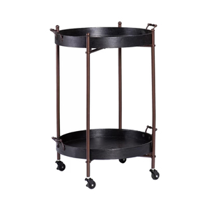 World Market Modern Vantage Small Mini Metal And Wood Styling Drink Tea Cocktail Wine Round Tray Rolling Corner Dining Bar Cart