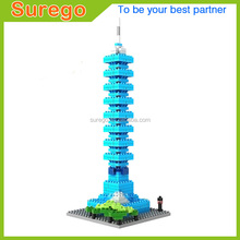 Loz Diamond Blocks World Famous Architecture Taipei 101 Mini 3D Model Building Blocks DIY Assembly Bricks Toys for Children