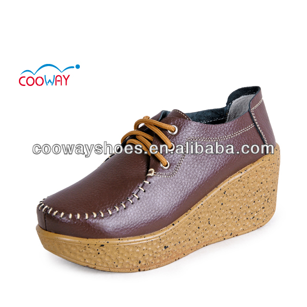 Ladies genuine leather shoe, Platform fashion lady shoe