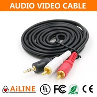 AiLINE 4 Poles Black Jacket 3.5mm to 2RCA Audio Wire