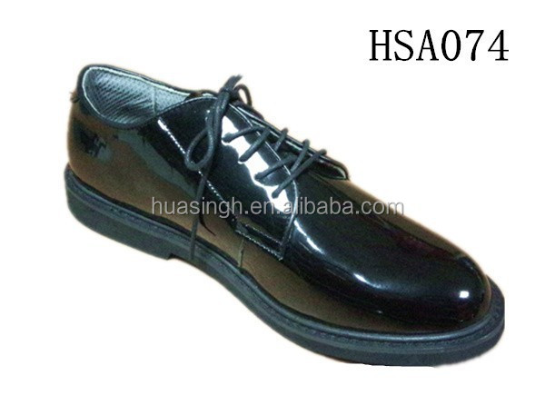 SM, high gloss leather police office formal occasion low cut style black color military shoes