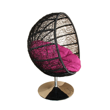 Factory price wicker hanging egg indoor swing chair with stand