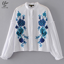 Ladies Designs Long Sleeve Stand Collar Blue Blouse Floral Embroidery Tops Women