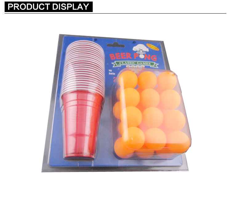OEM Beer Pong Game Set 24 Kopjes en 24 Ballen Blisterverpakking Beer Pong Cup En Ball Game Drinken Spel