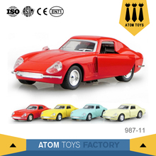 Mini pull back classical metal model open door toy car for preschool play