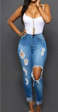HT-WJW 2017 Hot Nice High Quality Sex Girls Light Blue Denim Jeans Women Rip Pants Causal Women Jeans with Low Price