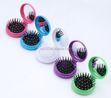 Hot sale round foldable hair brush with mirror,pop up brush with mirror,promotional hair brush