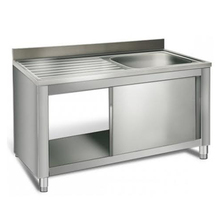 Sliding Door Sink Base Industrial Commercial Kitchen Modular Metal Stainless Steel Cabinets for Sale