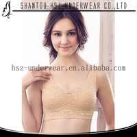 Fashion style pure color cheap lace sport bra cute women seamless underwear big size new design sexy boob bra underwear B9986