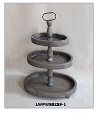 2 Tiered Antique Metal Zinc Galvanized Tray, Tiered Serving Stand