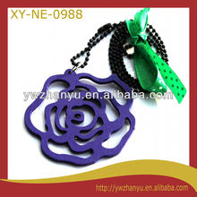 fashion wooden flower pendant beads chain kids necklace