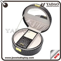 Round black lining leather antique mirror jewelry locking plastic box with handle