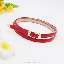 Wholesale cheap price fashion shiny PU leather women belt with gold buckle and metal end